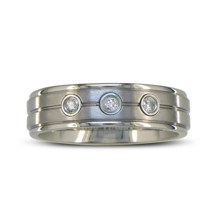 Mens Classic Diamond Wedding Band in Titanium, Sizes 4 to 13