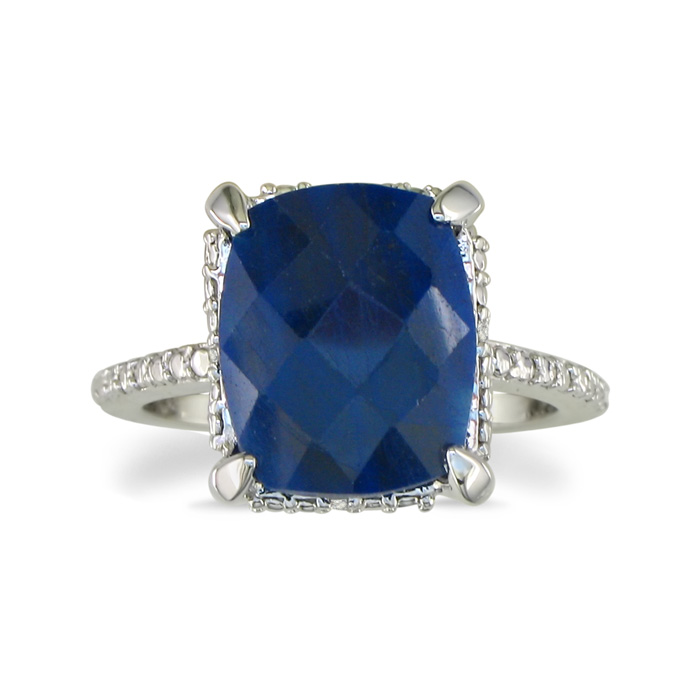 Image of 7ct Rough Cut Natural Sapphire Diamond Ring in Sterling Silver