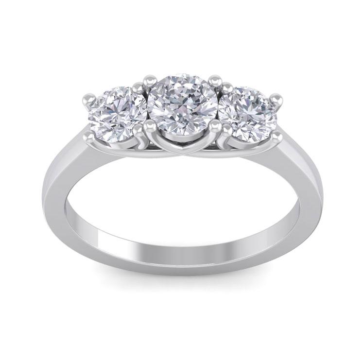 1.5 Carat Three Diamond Engagement Ring in 14k White Gold (4.2 g),  by SuperJeweler