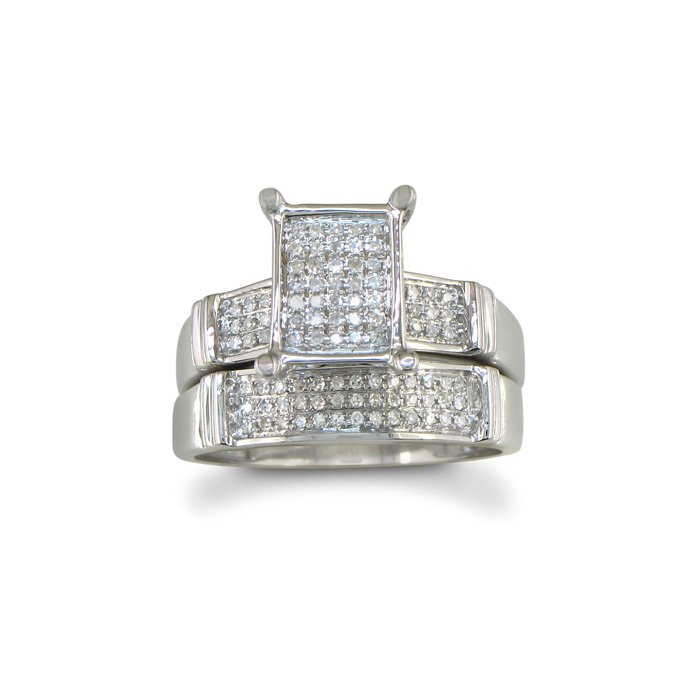 HUGE LOOK 1/3 Carat Diamond Micropave Bridal Engagement Ring Set, Sterling Silver, , Size 4.5 by SuperJeweler