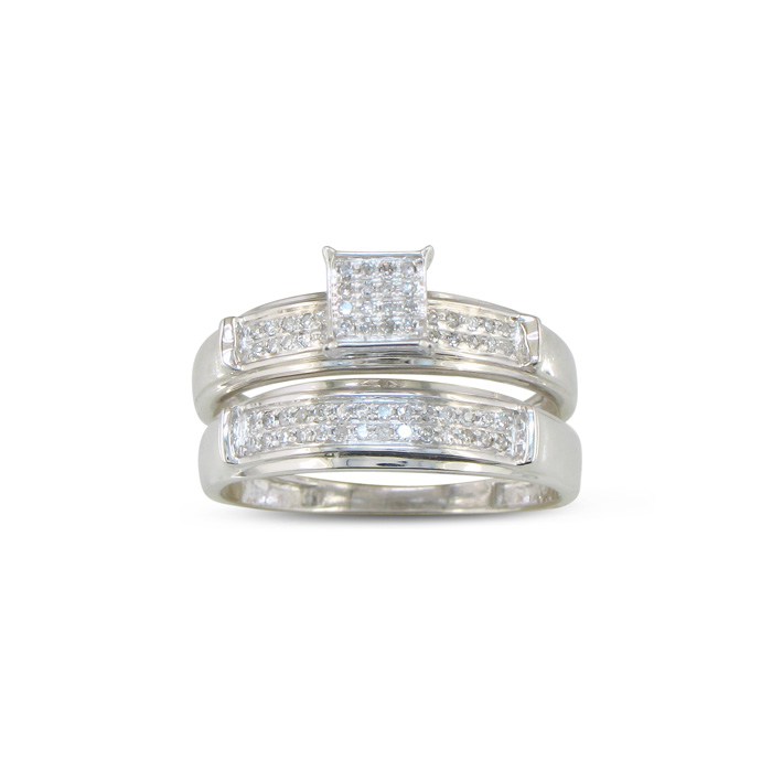1/5 Carat Diamond Bridal Engagement Ring Set in Sterling Silver,  by SuperJeweler