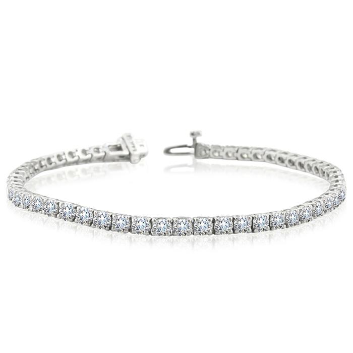 Image of 7 Inch 14K White Gold 8 Carat TDW Round Diamond Tennis Bracelet (J-K, I2-I3)