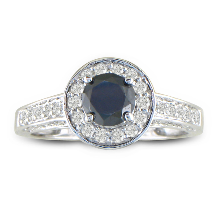 1ct Micropave Black Diamond Engagement Ring in