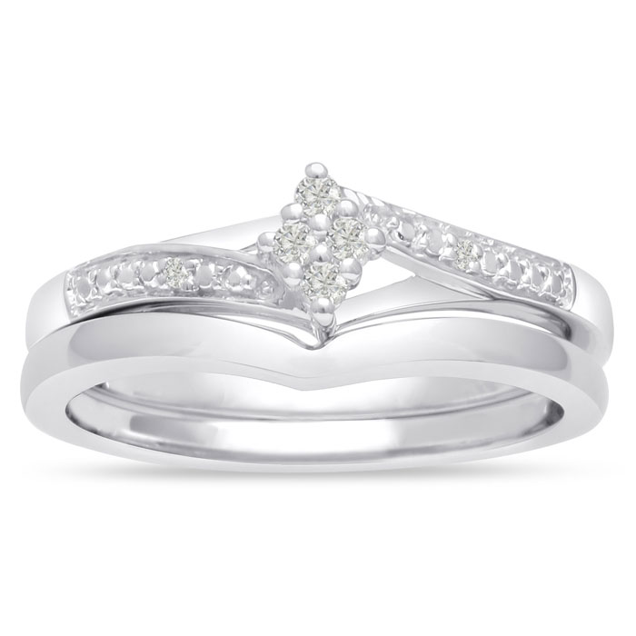 Marquise Shaped Diamond Bridal Engagement Ring Set in Sterling Silver,  by SuperJeweler
