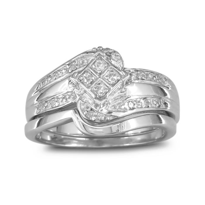 Big Look Diamond Bridal Wedding Set w/ Band in Sterling Silver,  by SuperJeweler