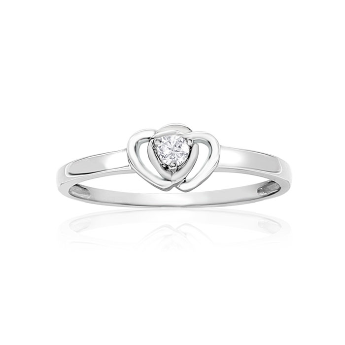 Image of .07ct Intertwined Hearts Diamond Promise Ring in Sterling Silver