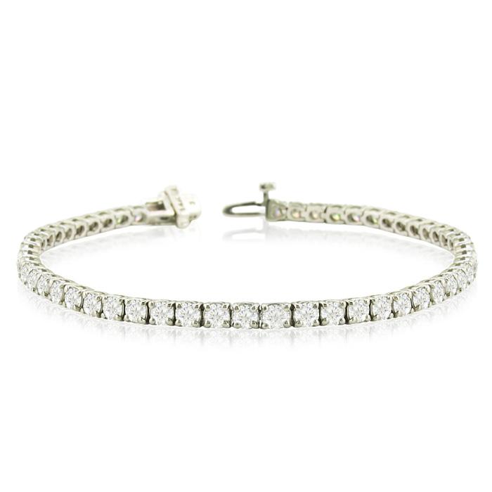 8 Inch 14K White Gold 9 1/7 Carat TDW Round Diamond Tennis Bracelet (J-K, I2-I3)