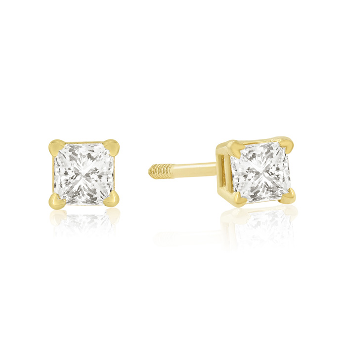 1/4ct Princess Cut Diamond Stud Earrings In