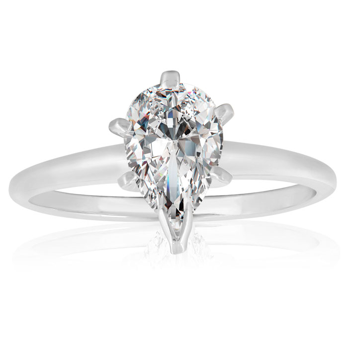1 Carat Pear Diamond Solitaire Ring in 14k White Gold,  by SuperJeweler