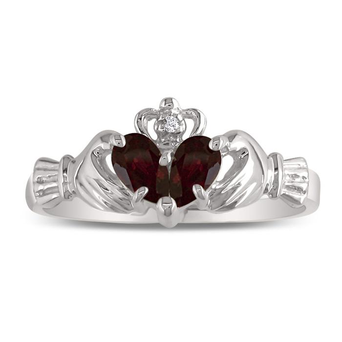 Garnet Claddagh Ring in 10k White Gold