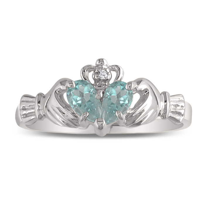 Aquamarine Claddagh Ring in White Gold,  by SuperJeweler
