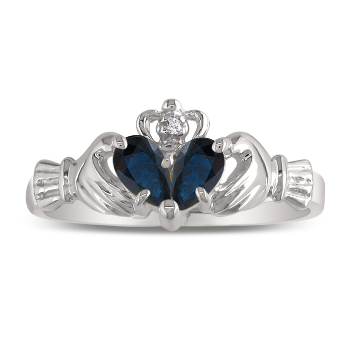 Sapphire Claddagh Ring in 10k White Gold