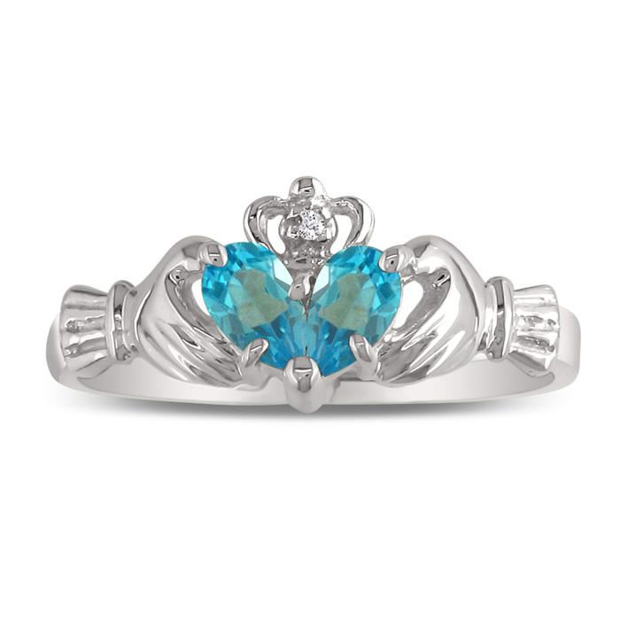 Blue Topaz Claddagh Ring in White Gold,  by SuperJeweler