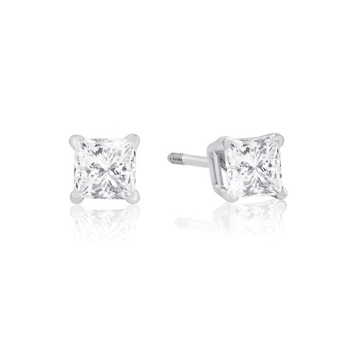 1/2ct Princess Diamond Stud Earrings In 14k