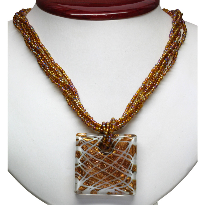Image of Brown, Red, and White Murano Glass Square Pendant on Crystal Necklace