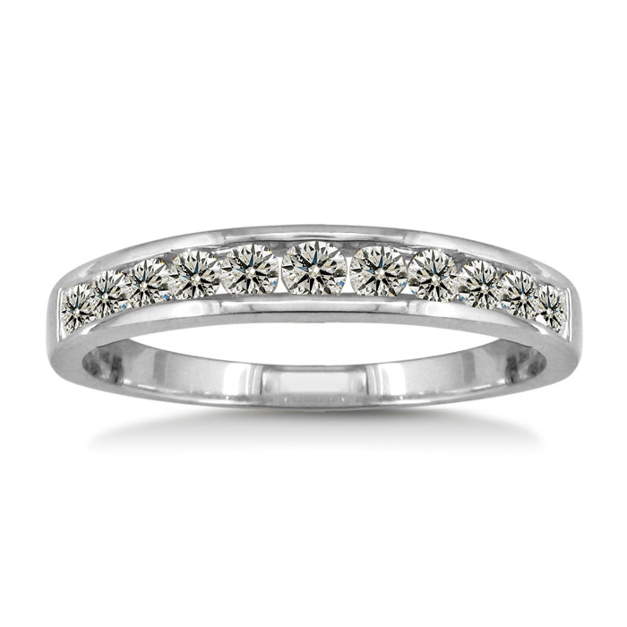 bands rose in band ring round diamond wedding with halo five engagement anniversary stone gold