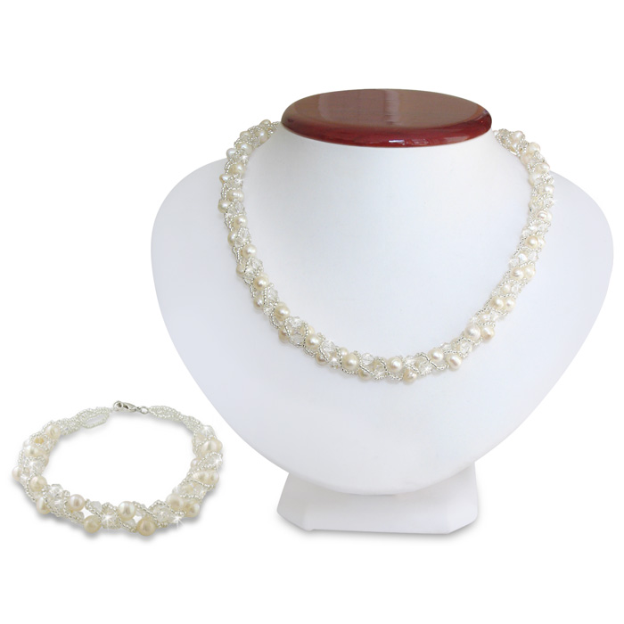 Swarovski Elements Crystal and Pearl Necklace and