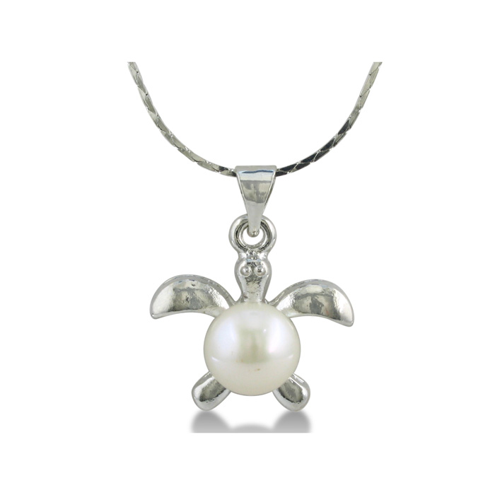Super Cute Turtle Shaped Freshwater Pearl Pendant ShopFest Money Saver