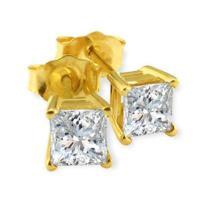 1.5 Carat Princess Cut Diamond Stud Earrings 14k Yellow Gold