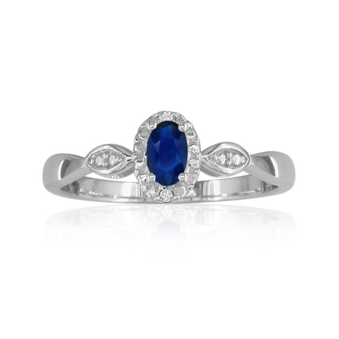 1/2 Carat Sapphire & Diamond Ring in Sterling Silver in All,  by SuperJeweler