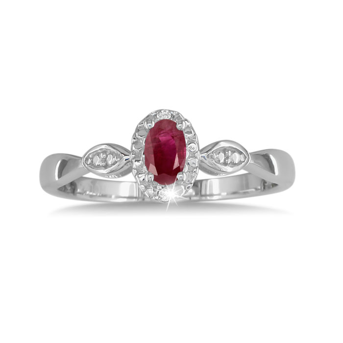 1/2 Carat Ruby & Diamond Ring in Sterling Silver in All,  by SuperJeweler