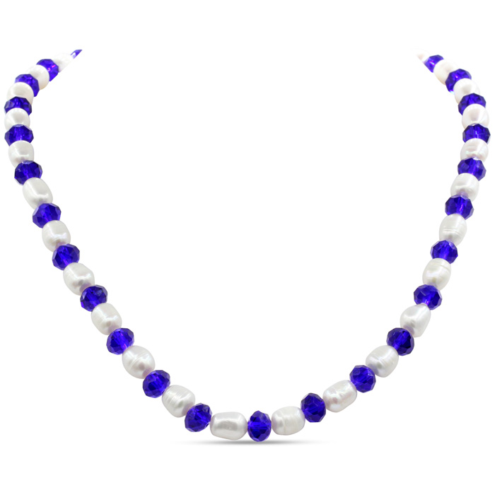 Image of Fine Electric Blue Crystal and Giant Seed Pearl Necklace