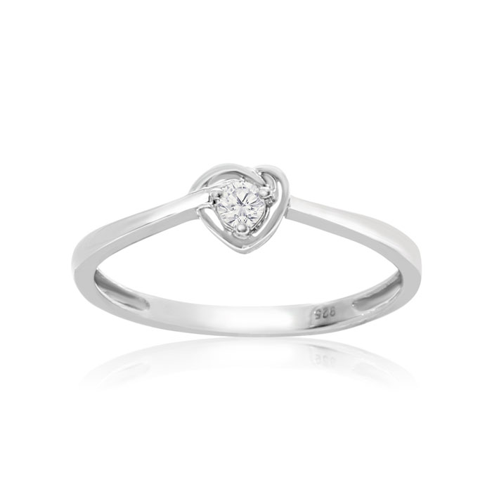 Image of Dainty Heart Shaped .07ct Diamond Promise Ring in Sterling Silver