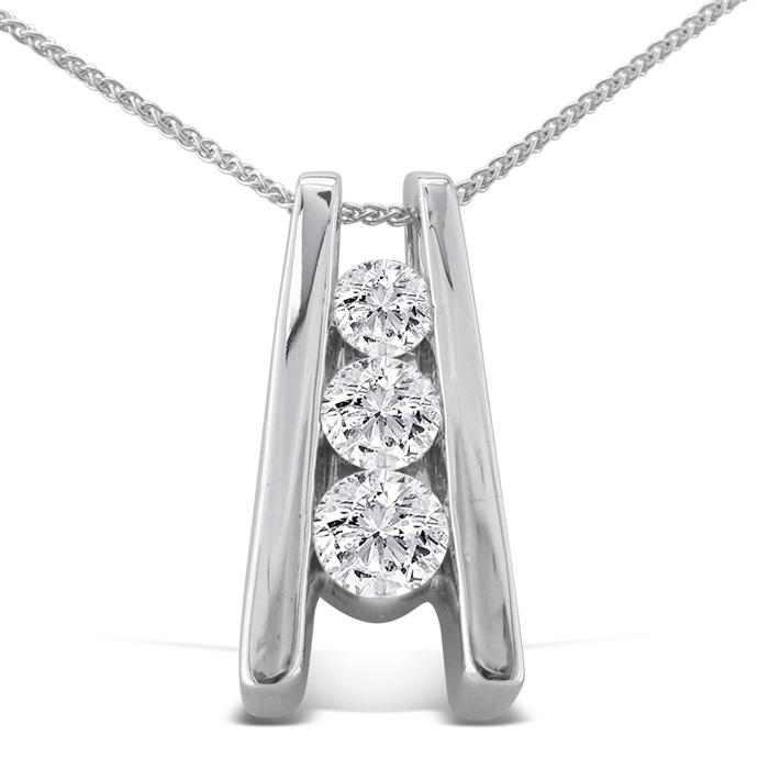 1/4ct Three Diamond Pendant in 14k White
