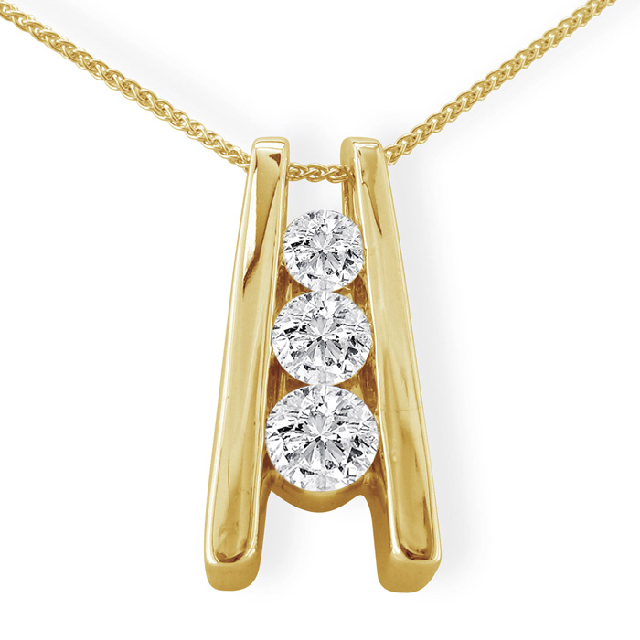 pendants gold diamond three white pendant