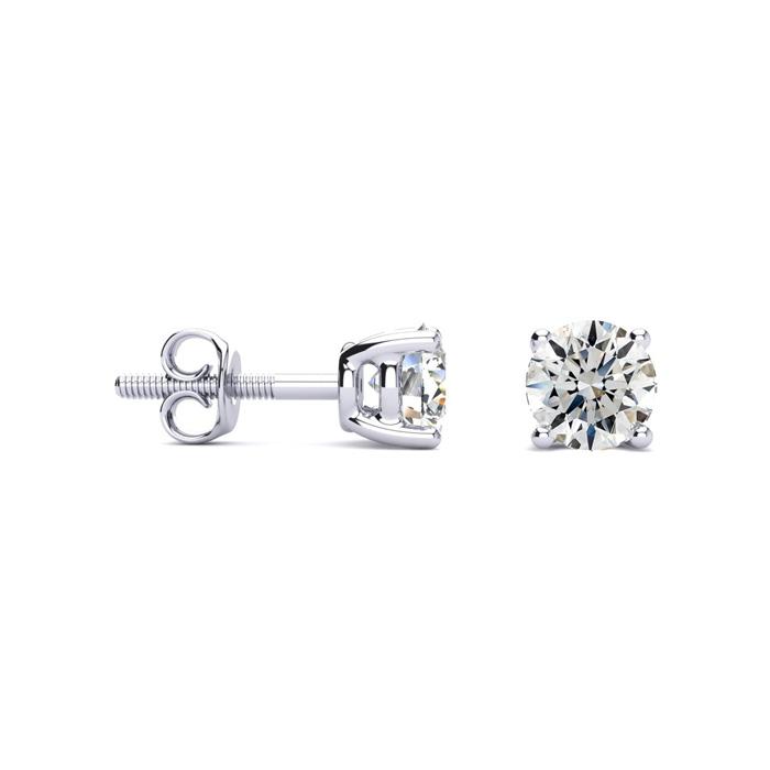 1 Carat Round Diamond Stud Earrings in Platinum (G-H Color