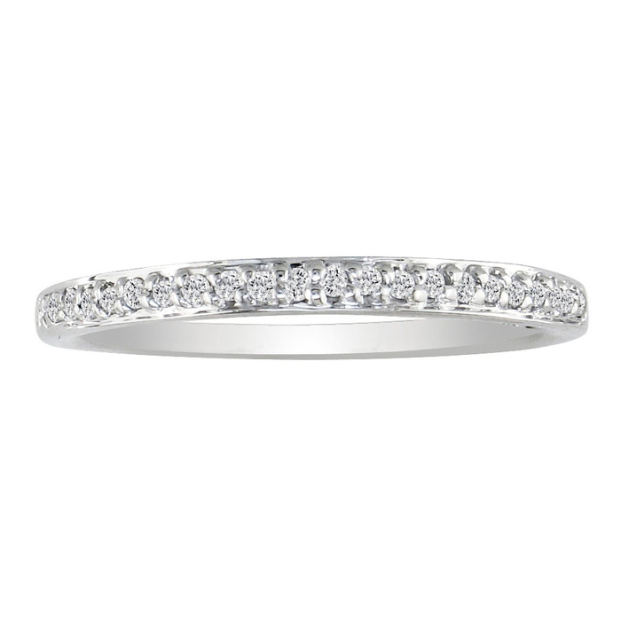 1/10 Carat Micro Pave Women's Diamond Wedding Ring in 14k White Gold,  by SuperJeweler