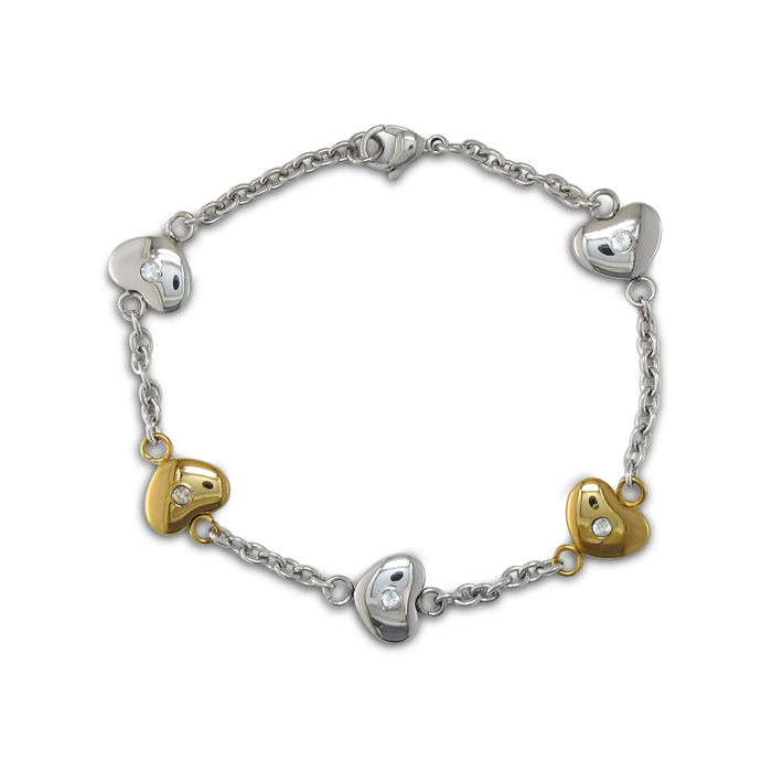 Image of 8 Inch Women's Stainless Steel and Gold Heart Chain Bracelet