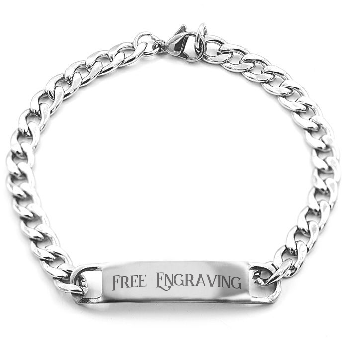 Image of Stainless Steel ID Bracelet With Free Custom Engraving, 7.5 Inches