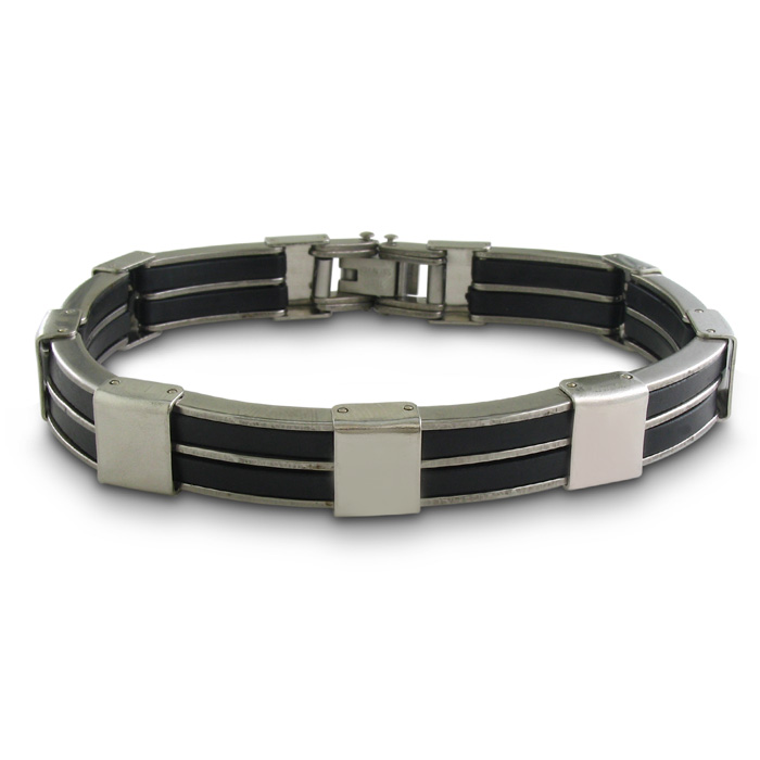 Image of 8 Inch Double Row Men's Stainless Steel and Carbon Fiber Bracelet