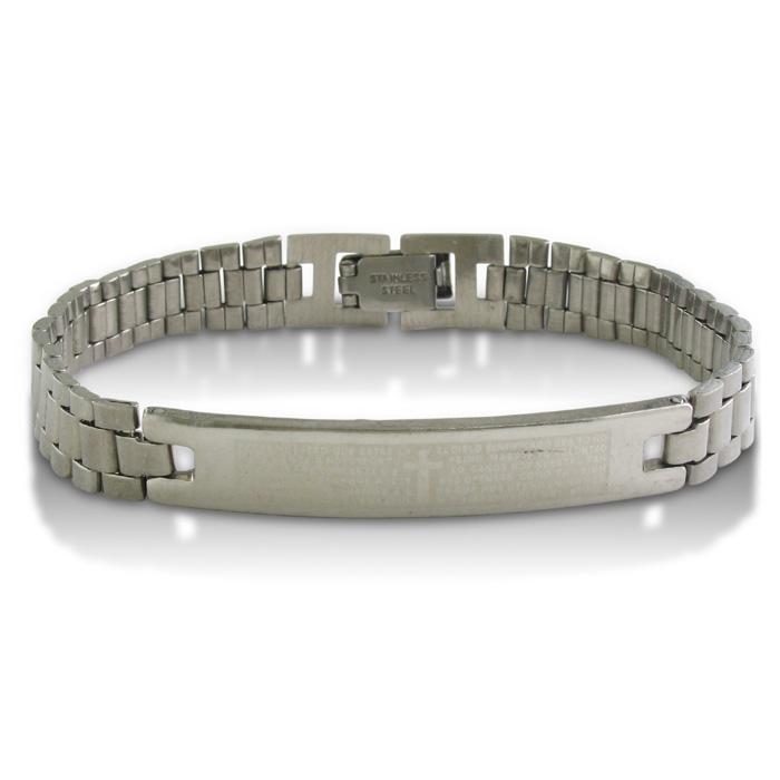 Image of 7.5-Inch Padre Nuestro Stainless Steel ID Bracelet
