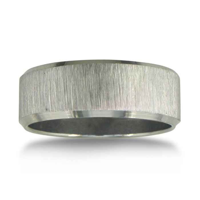 Image of Brushed Finish 7mm Men's Stainless Steel Wedding Band Sizes 8 to 13