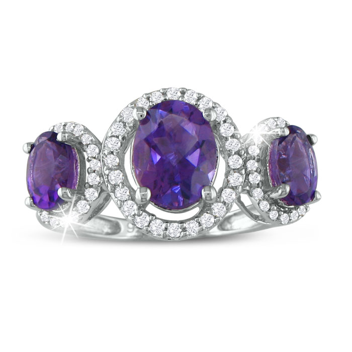 Image of Large Over 2ct Amethyst and Diamond Ring in Sterling Silver