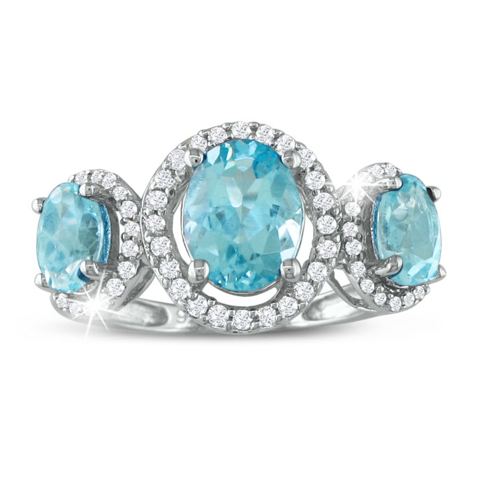 Image of Large Over 2ct Blue Topaz and Diamond Ring in Sterling Silver