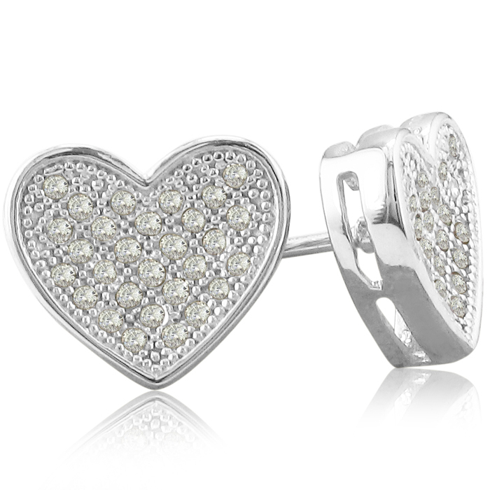Image of 1/3ct Pave Set Diamond Heart Earrings in Sterling Silver