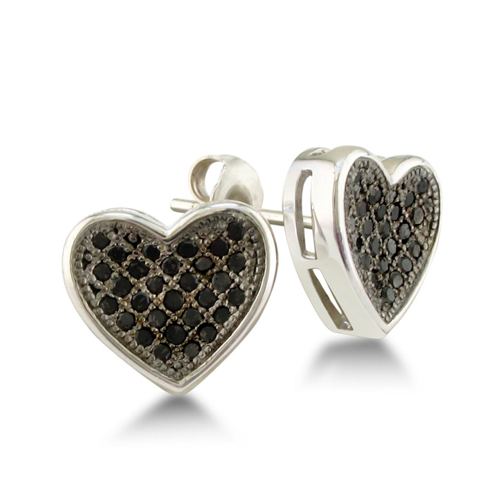 Image of 1/3ct Pave Set Black Diamond Heart Earrings in Sterling Silver