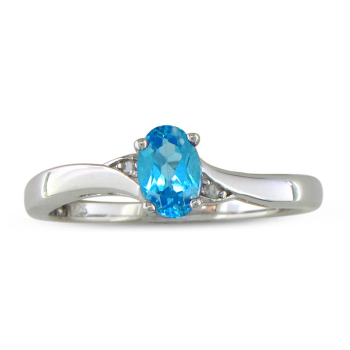 1/2 Carat Blue Topaz & Diamond Ring in Sterling Silver,  by SuperJeweler