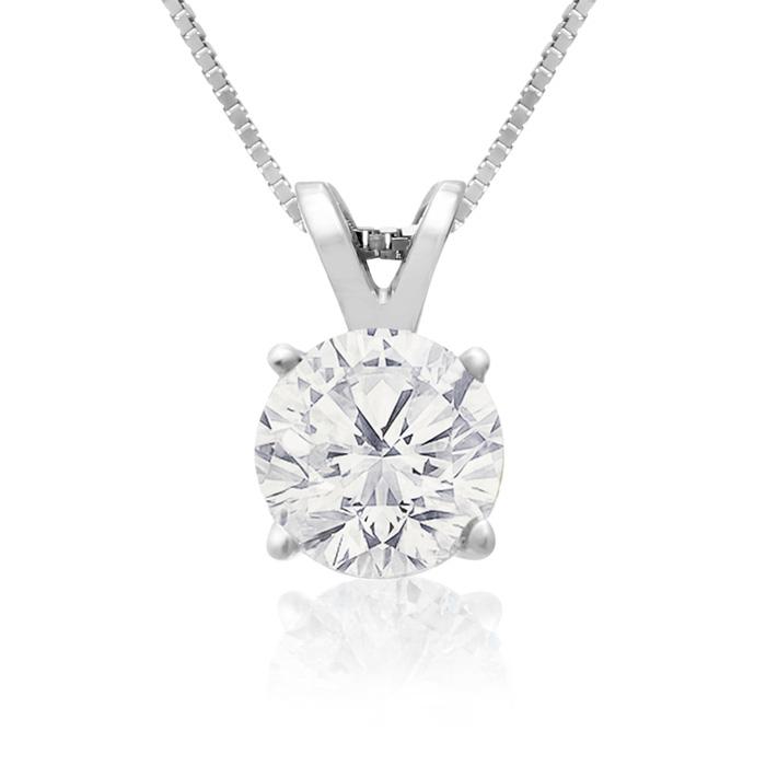 Image of .85ct 14k White Gold Diamond Pendant, 4 stars