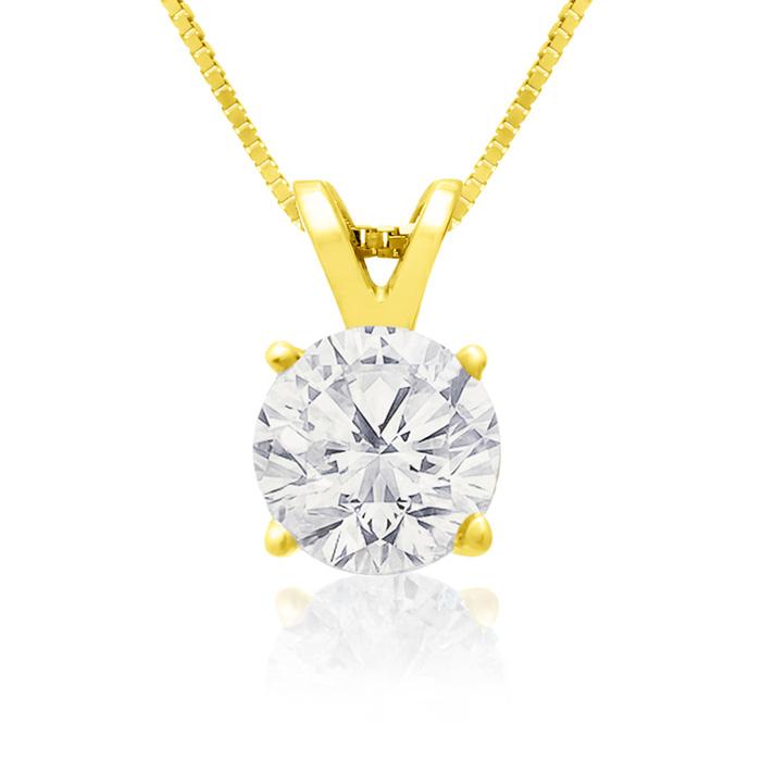 Image of .85ct 14k Yellow Gold Diamond Pendant, 4 stars