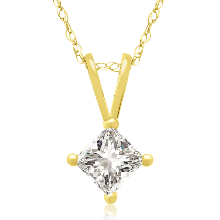 3/8 Carat 14k Yellow Gold Princess Cut Diamond Pendant Necklace,