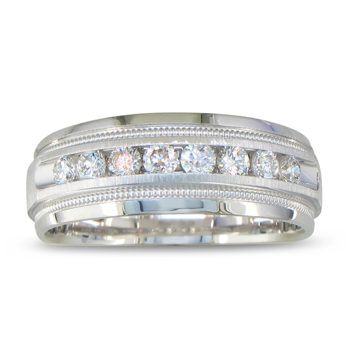 Heavy Mens Wedding Band With 1/2ct Channel