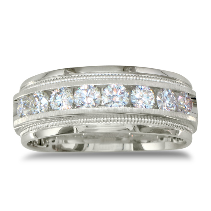 Heavy Mens Wedding Band With 1ct Channel Set Diamonds, 14K White Gold Item  number: JWL 9330