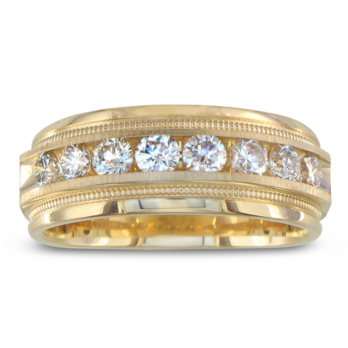 Heavy Mens Wedding Band With 1ct Channel
