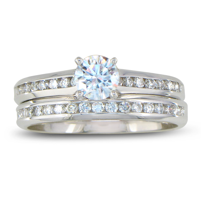 Perfect 3/4 Carat Engagement Ring & Wedding Band Set White Gold (5.3 g), G/H Color by SuperJeweler