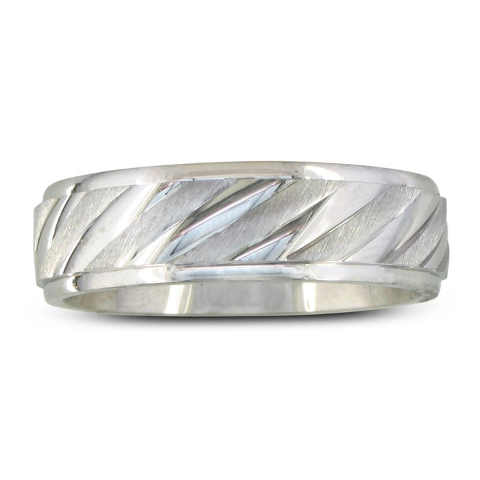 Mens and Womens Fluted Silver 6.5mm Wedding Band Ring, Size 4 to 14.