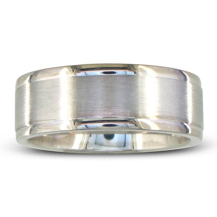 Mens And Womens Brush Finish Silver Wide 8mm Wedding Band Ring Item Number Jwl 9338